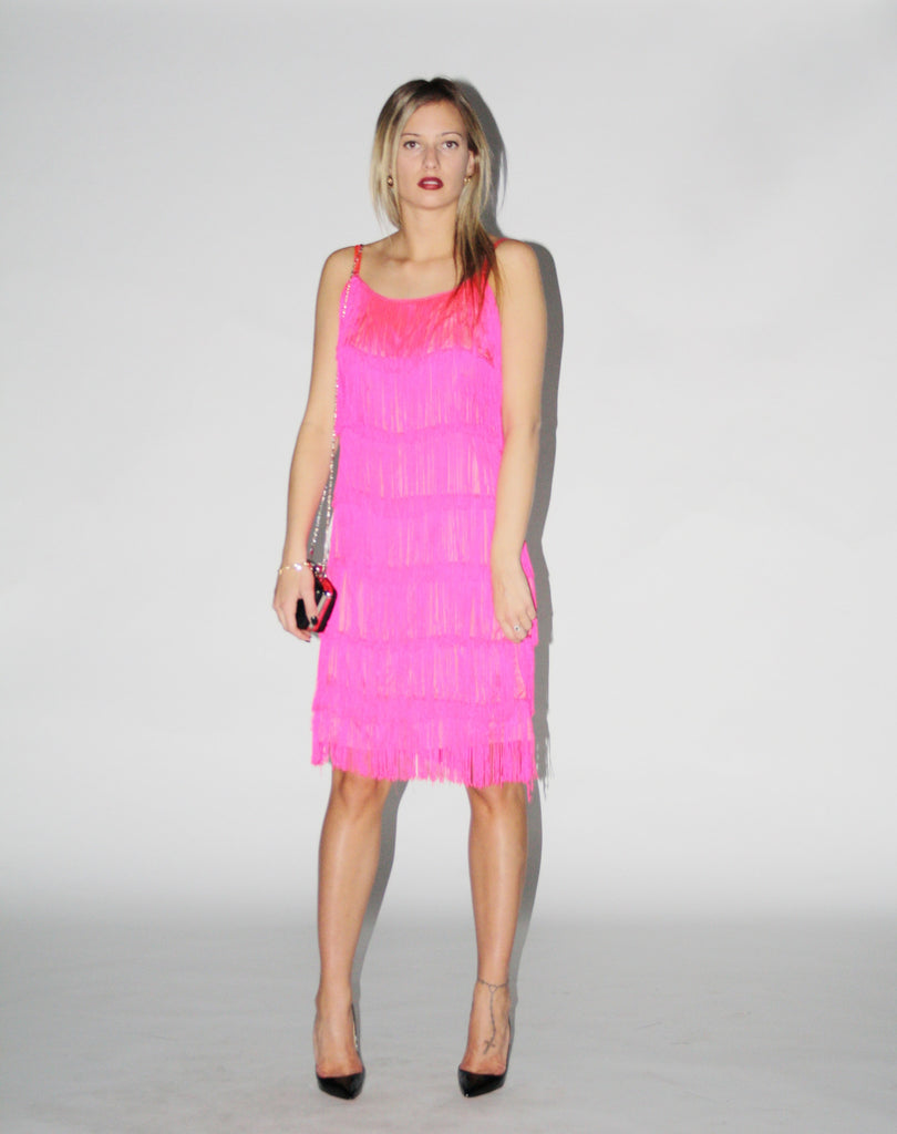Vintage 1970s Neon Pink Flapper Fringe Dress