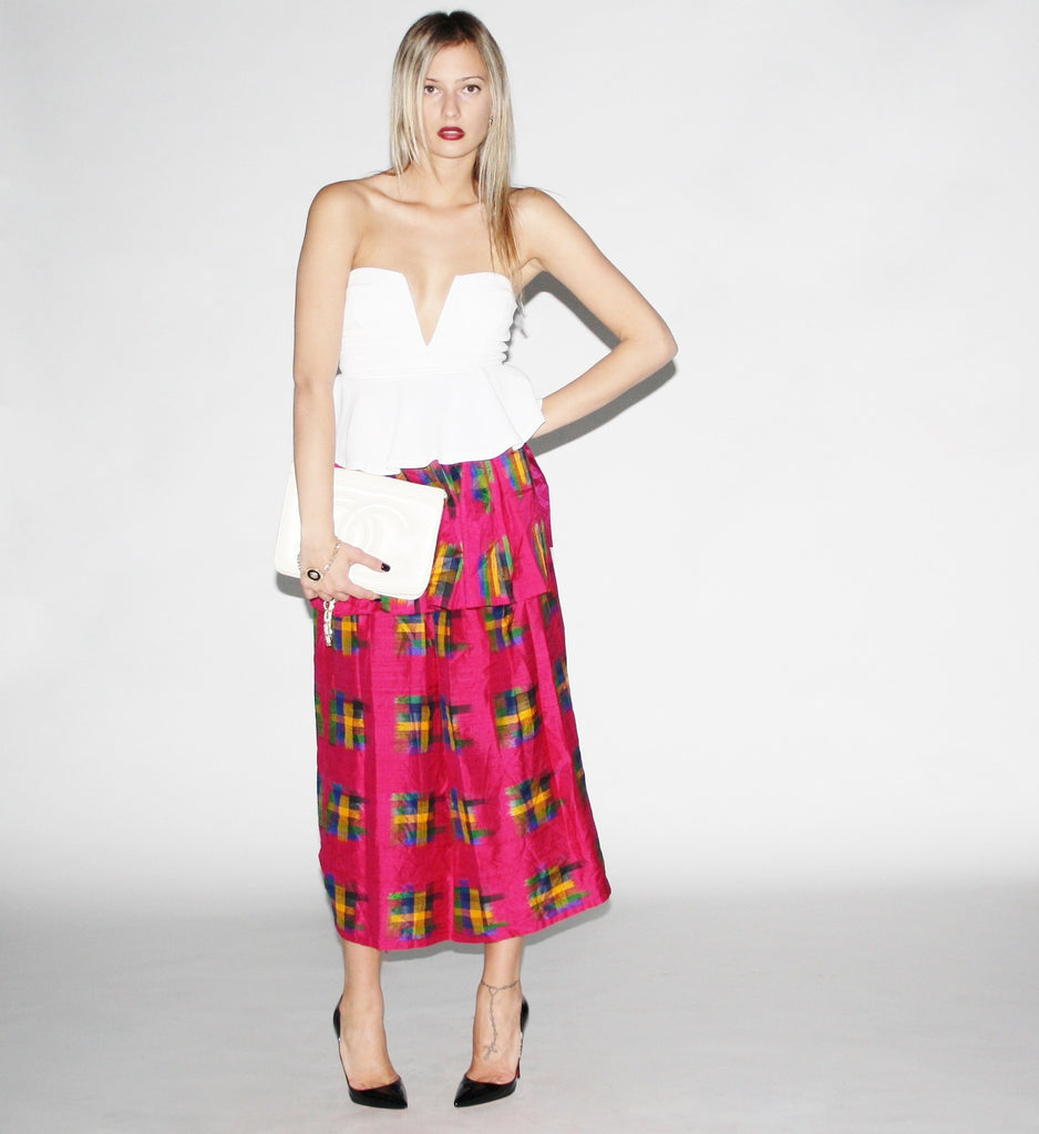 Vintage Pink Plaid Maxi Skirt with Peplum.