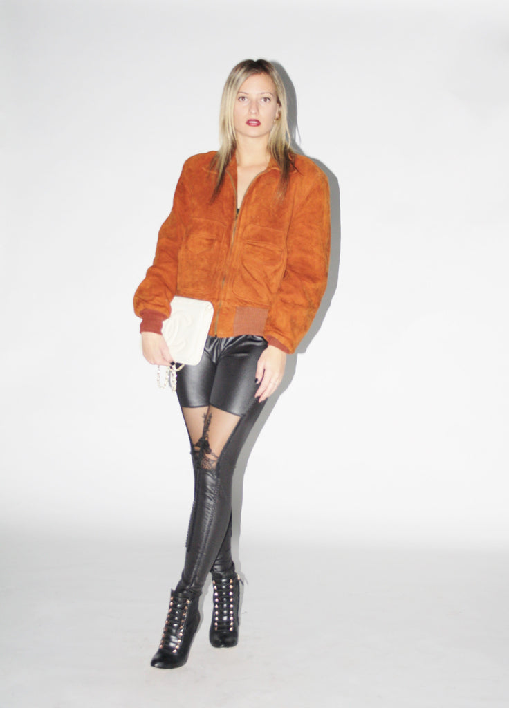 Vintage 1970s Suede Rust Western Ranch Bomber