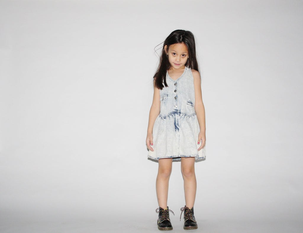 Kids Vintage 80s Acid Wash Denim Dress