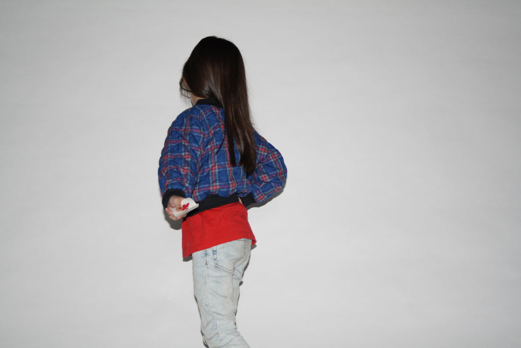 Kid's Vintage 90s Grunge Plaid Bomber Jacket