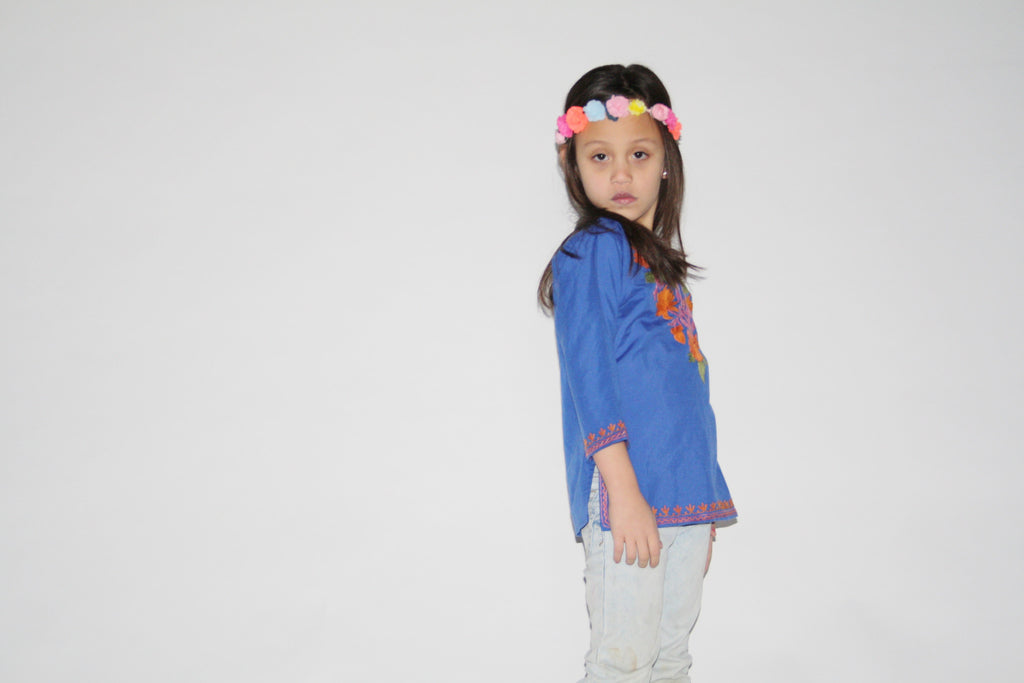 Kid's Vintage 1970s Blue Embroidered Ethnic Floral Tunic Top