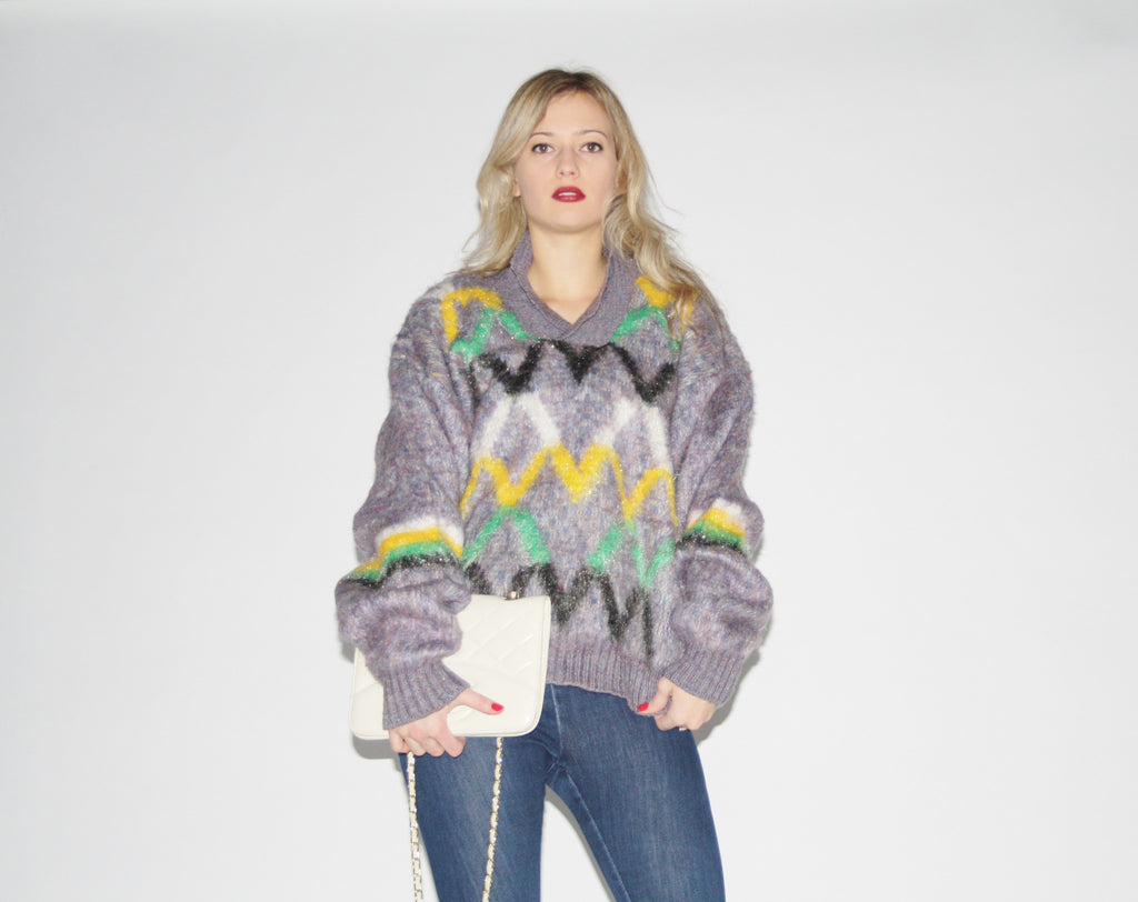 1980s Vintage Fuzzy Metallic Argyle Women's Sweater