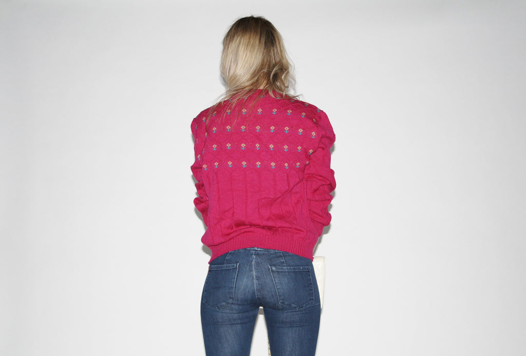 1980s Vintage Pendleton Hot Pink Women's Sweater