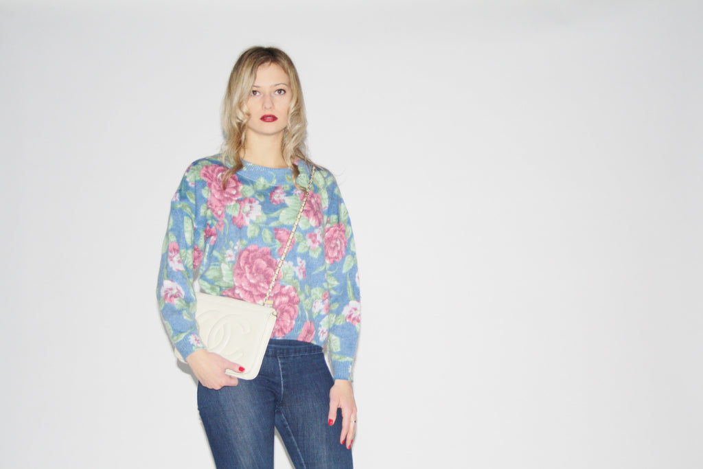 1990s Vintage Floral Women's Sweater