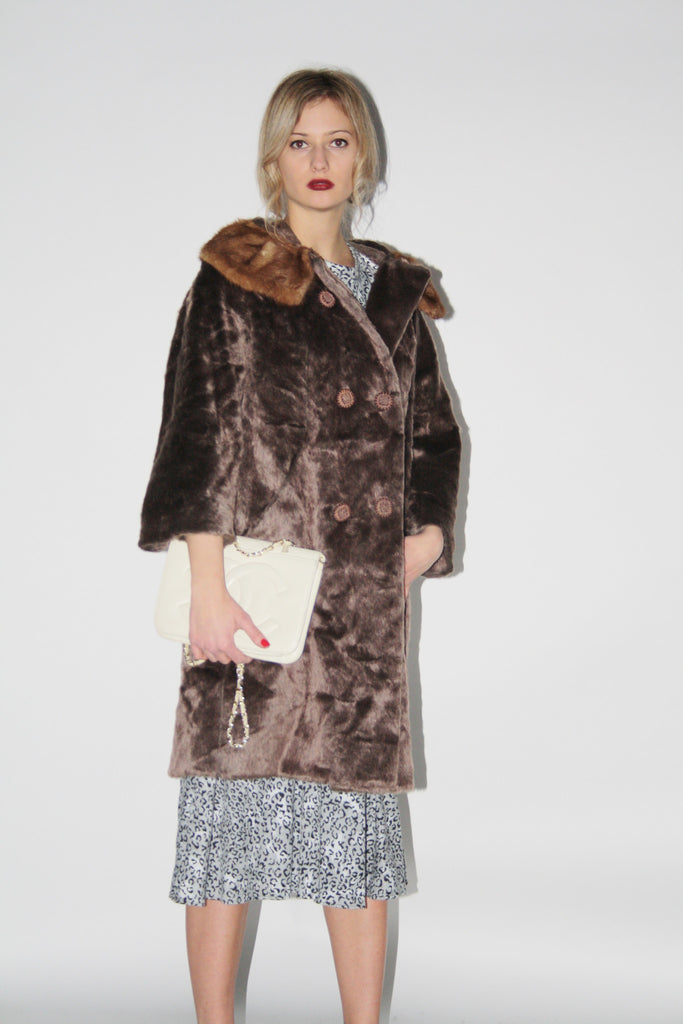 Vintage 1950s Vintage Brown Fur Women's Princess Coat