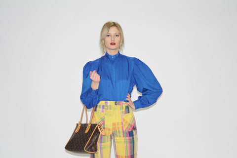 80s Vintage Electric Blue Women's Dress Top Blouse
