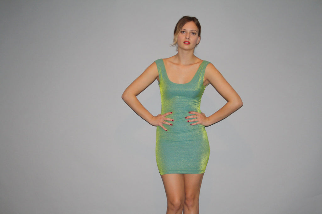 1990s Vintage Green Iridescent Metallic Boydcon 90s Party Dress