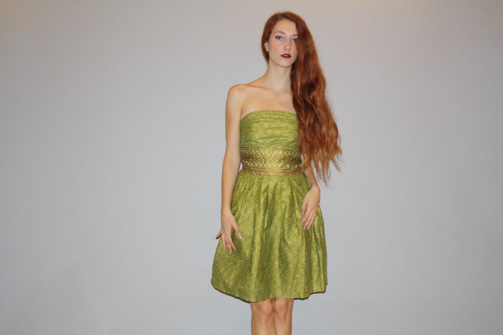1960s Vintage Green Iridescent Metallic Ethnic Indian Strapless Short Cocktail 60s Party Dress