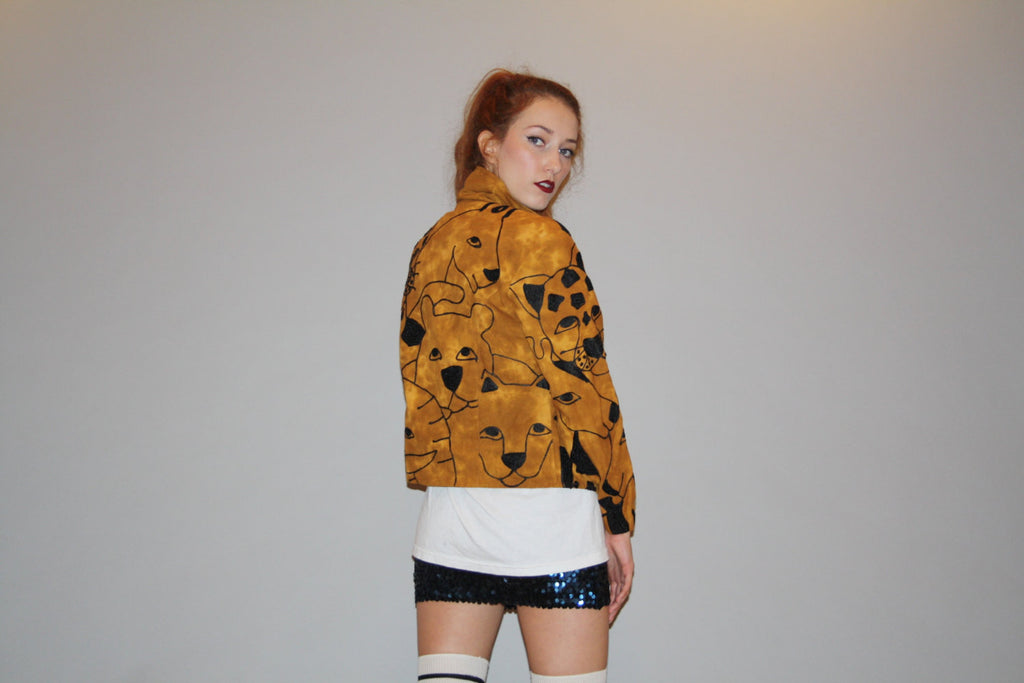 Vintage 1990s Novelty Big Cat Tiger Lion Leopard Safari Cropped Jacket