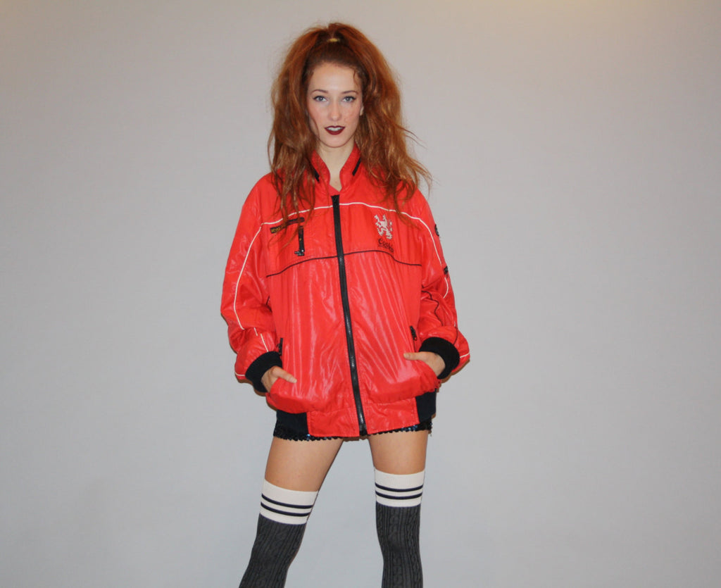 1980s Vintage Red and Black Company Logo Coors Beer Racing Team Puffy Quilted Sporty Athletic Jacket