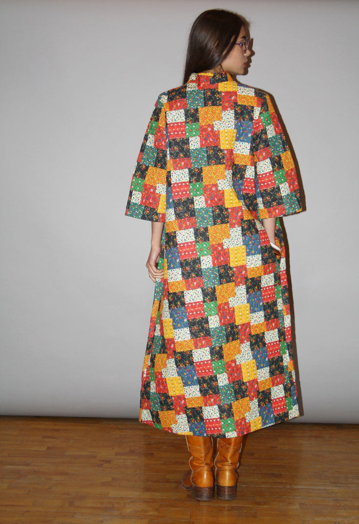 RARE 1960s Patchwork Qulited Hippie Coat Quilt Duster Jacket