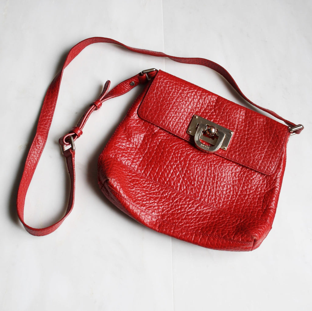1980s Vintage Authentic Designer Vintage DKNY Red Leather Shoulder Bag Purse