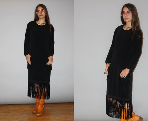 1980s Designer Vintage Bill Blass Suede Fringe Minimalist Sac Dress