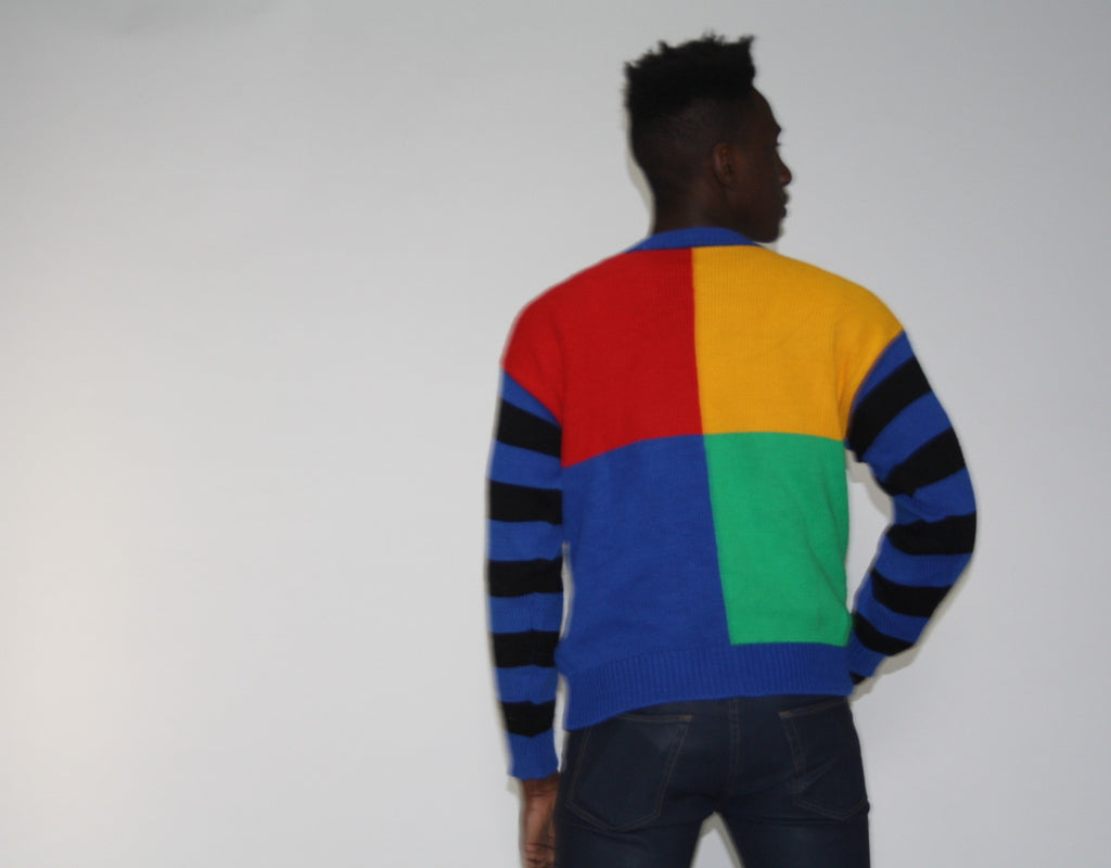 Vintage 1990s Mickey Mouse Graphic Rainbow Sweater