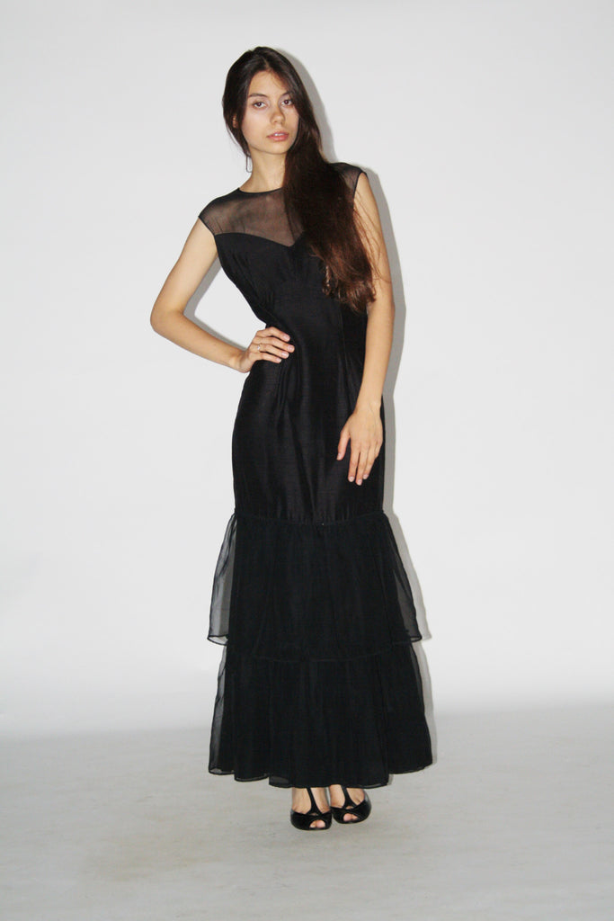 1930s Vintage Black Goth Evening Gown