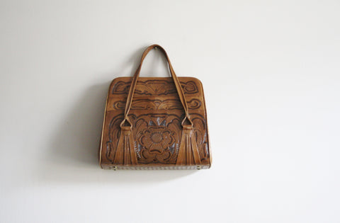 1950s Vintage Tan Tooled Leather Large Handbag