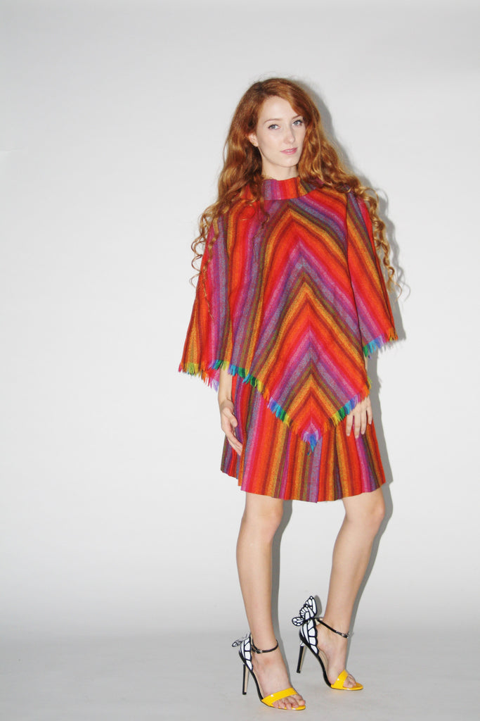 1960s Vintage Woven Irish Wool Rainbow Poncho Cape and Skirt Two Piece Set