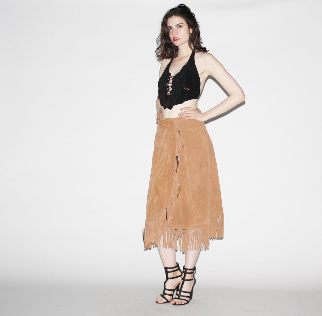 1960s Suede Fringe Vintage Feather Hippie Gypsy Skirt