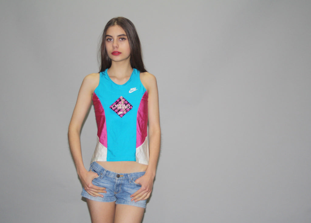 1990s Vintage Nike Pastel Turquoise Neon Colorblock Deadstock NOS Top