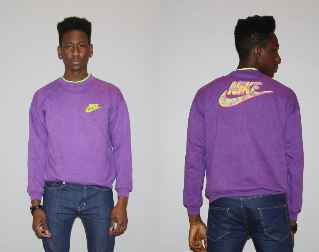 1990s Vintage Neon Green Purple NIKE Hip Hop Pull Over Dayglo Sweatshirt Jumper Pullover Top