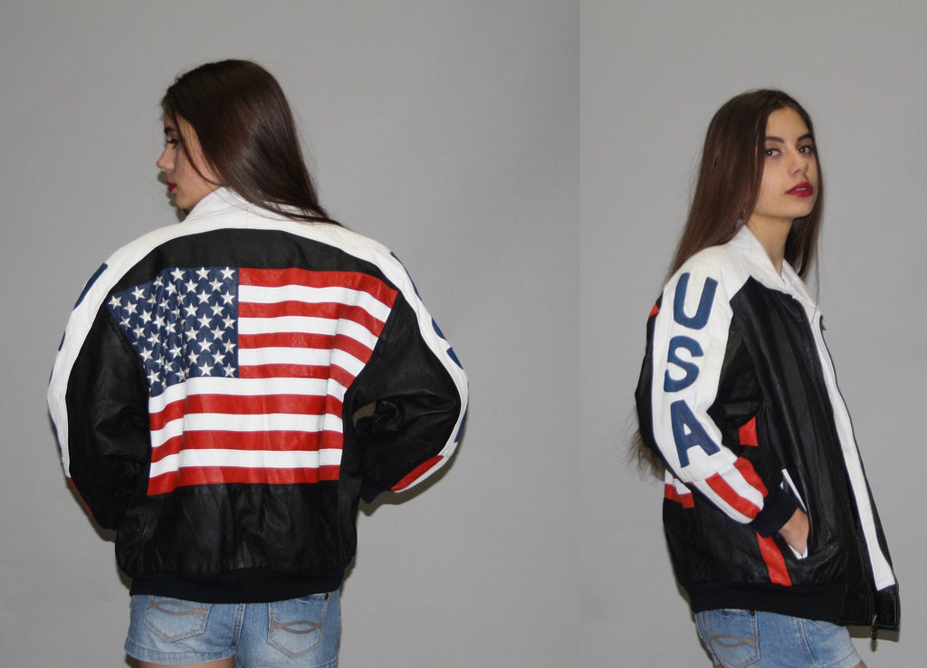 1990s Vintage American Flag Leather Bomber Jacket