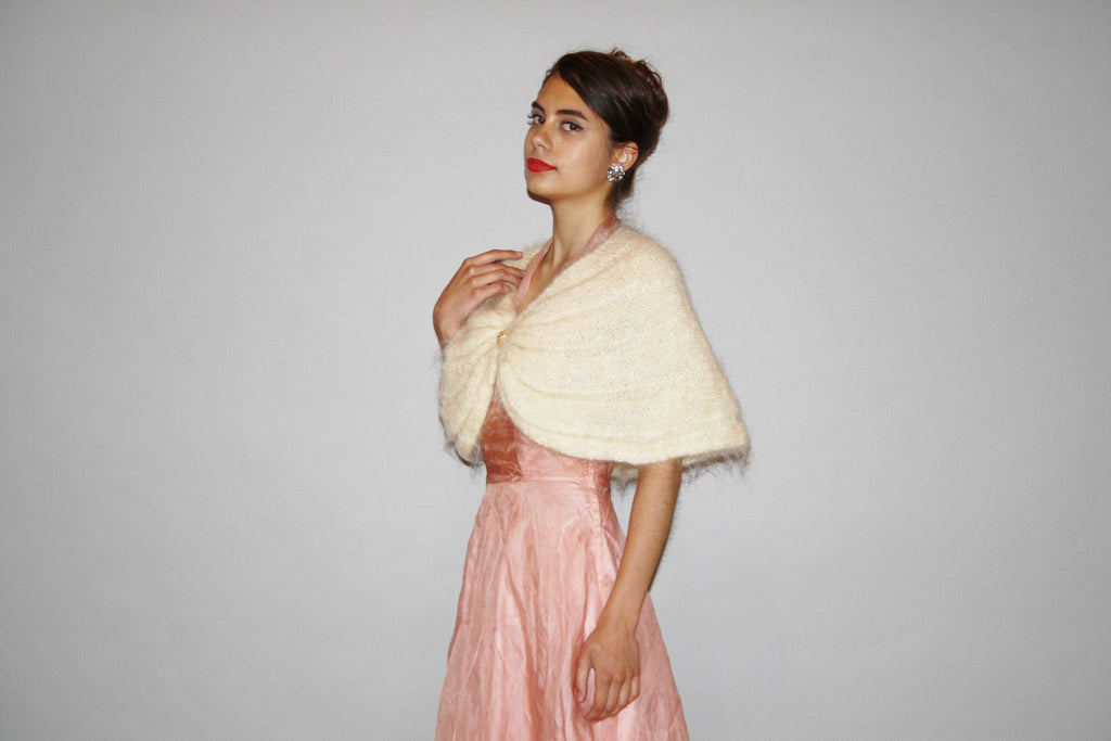 1950s Vintage Ivory Angora Capelet Wedding Stole Bridal Cardigan Sweater