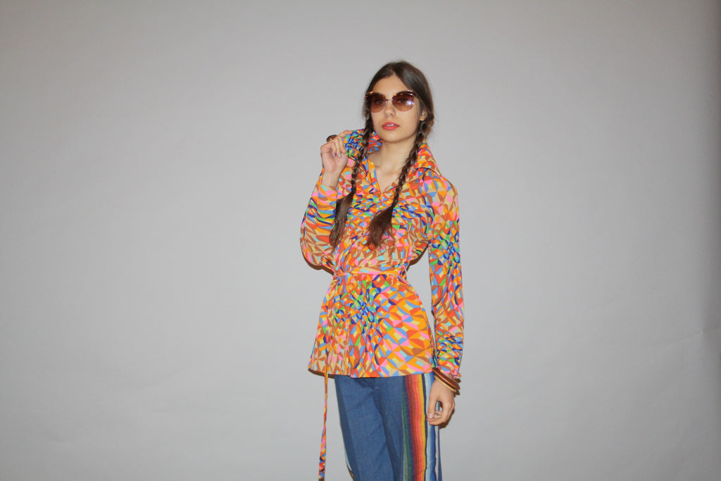 1960s Graphic Rainbow Belted Women's Geometric Blouse