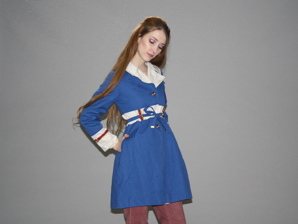 1960s Vintage Mod Blue Princess Nautical Trench Coat Jacket
