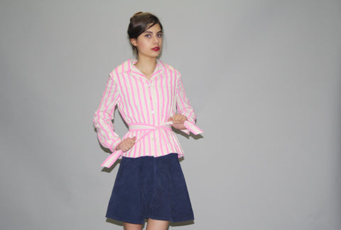 1950s Pink and White Striped Designer Anne Fogarty Belted Cotton Jacket