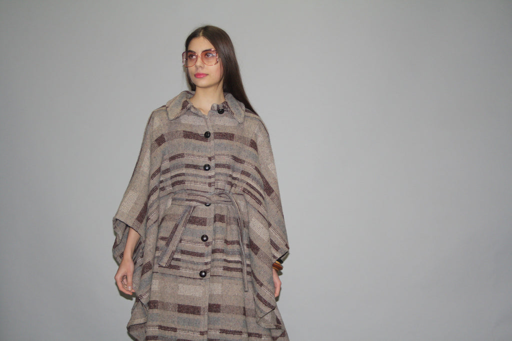 1970s Vintage Dramatic Draped Avant Garde Neutral Tone Striped Wool Boho Hippie Festival Cape