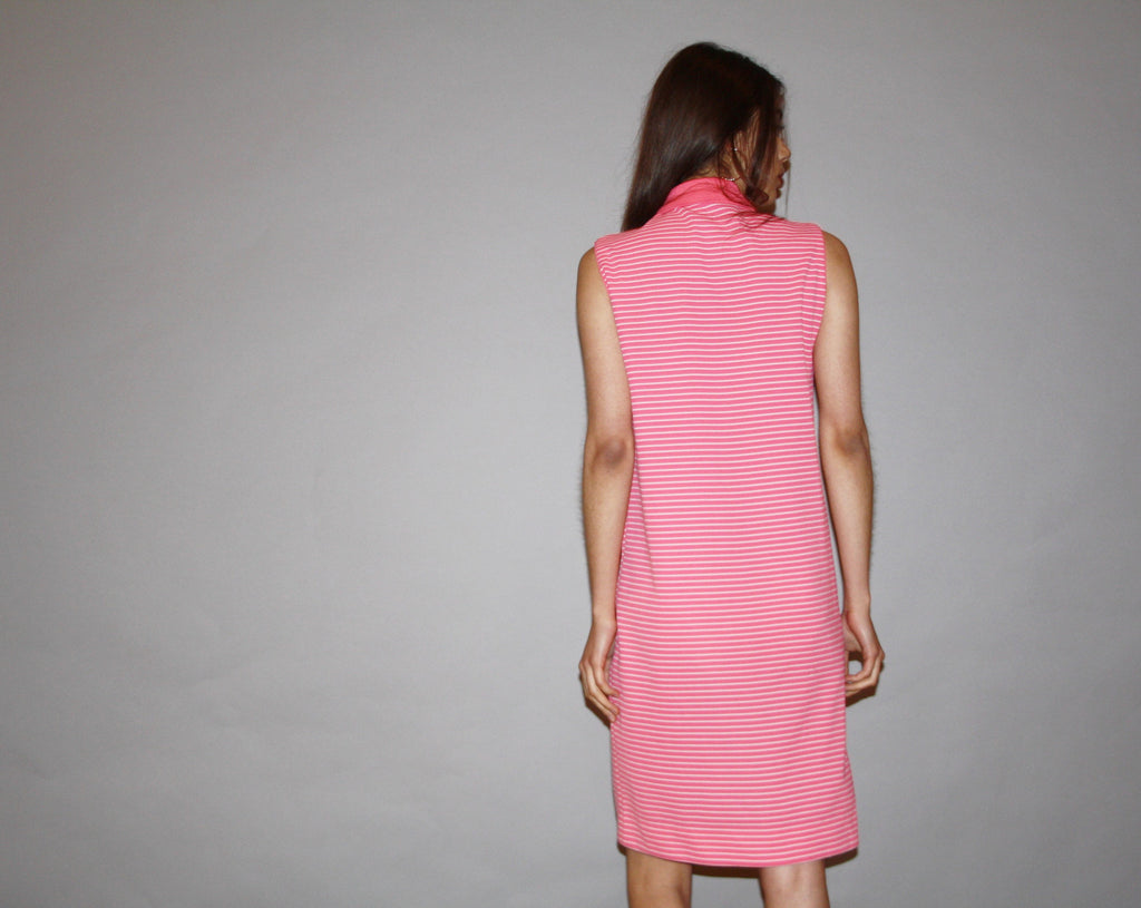 1960s Vintage Lacoste Izod Neon Pink Striped Tennis Shirt Dress