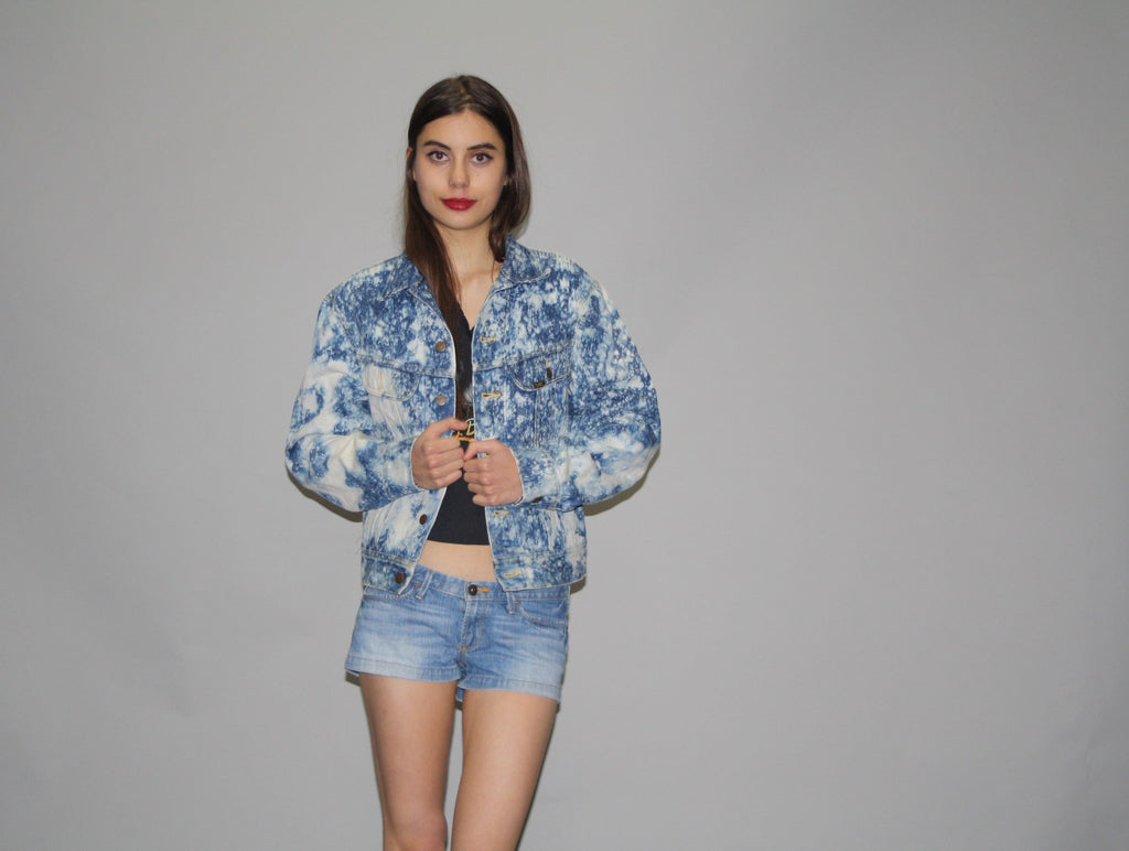 1980s Vintage Lee Denim Acidwash Chemical Wash Splatter Jean Jacket