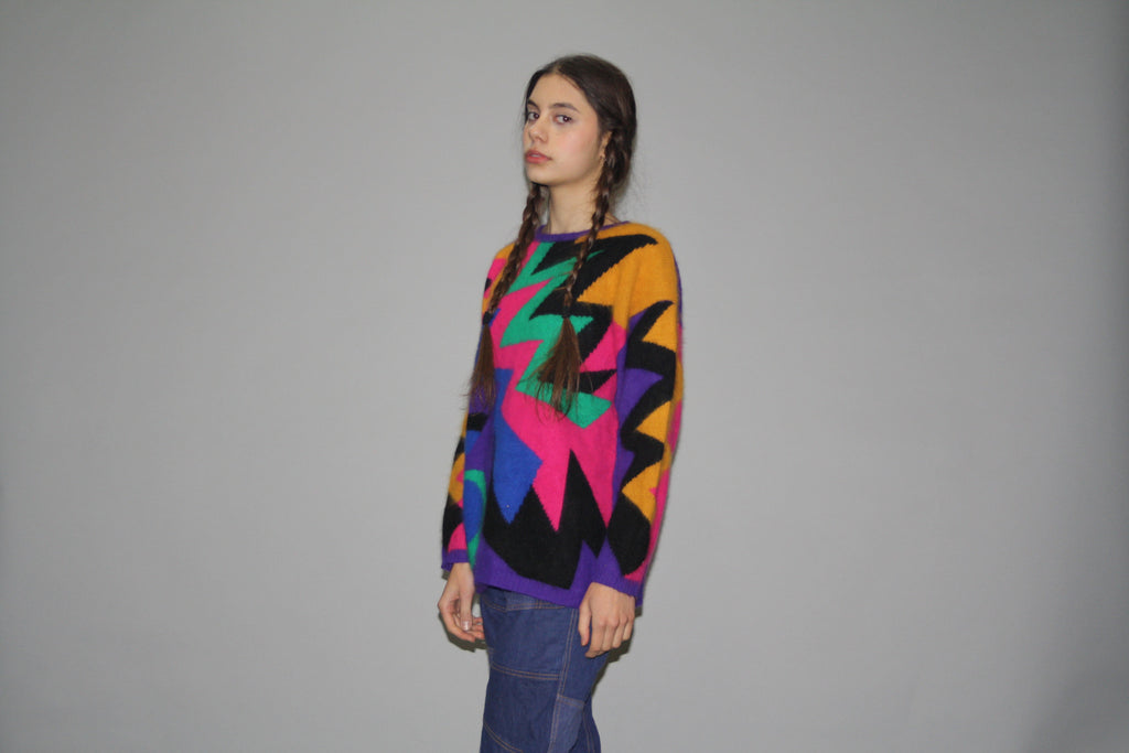 1980s Angora Bold Geometric Patterned Rainbow Graphic Sweater