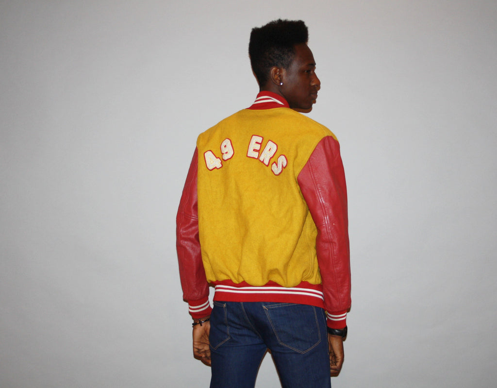 70s San Franciso 49ers NFL Football Leather Sleeve Varsity Collegiate Letterman Jacket Coat