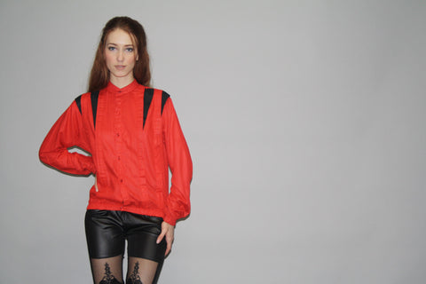 1980s Red and Black Michael Jackson Thriller Style Blouse