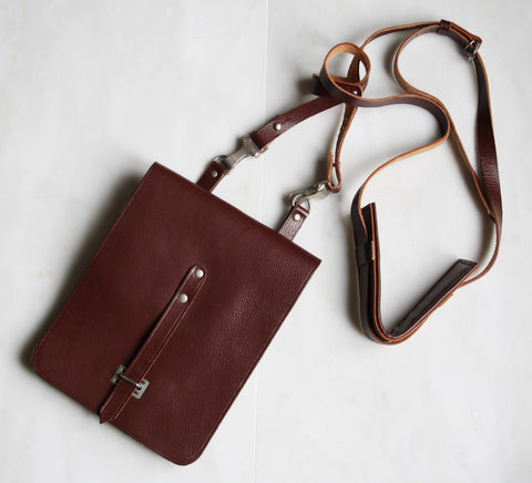 Vintage 1990s Brown Leather Crossbody Satchel Bag