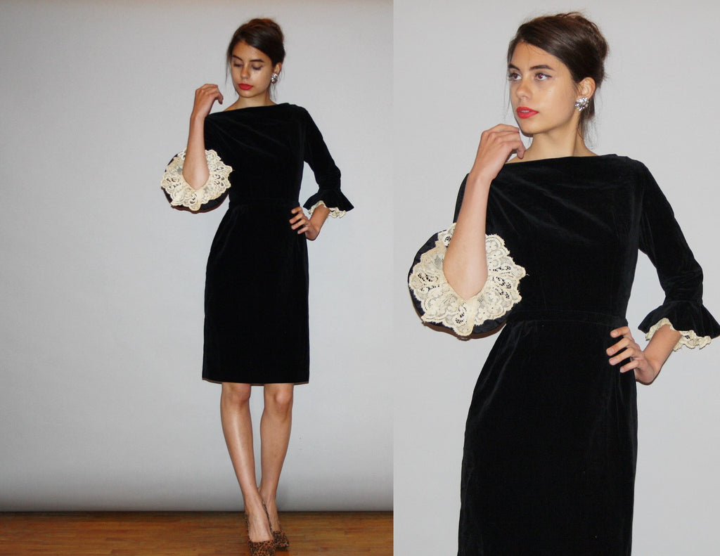 1950s Vintage Designer Black Velvet Jonathan Logan Wiggle Dress With Fluted Lace Cuff