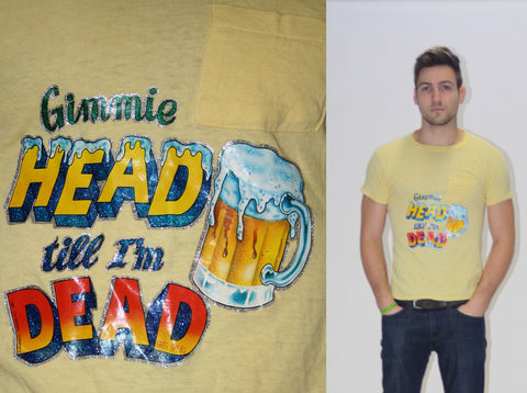 1981 Vintage Crude Give Head Till I'm Dead Glitter Beer T Shirt