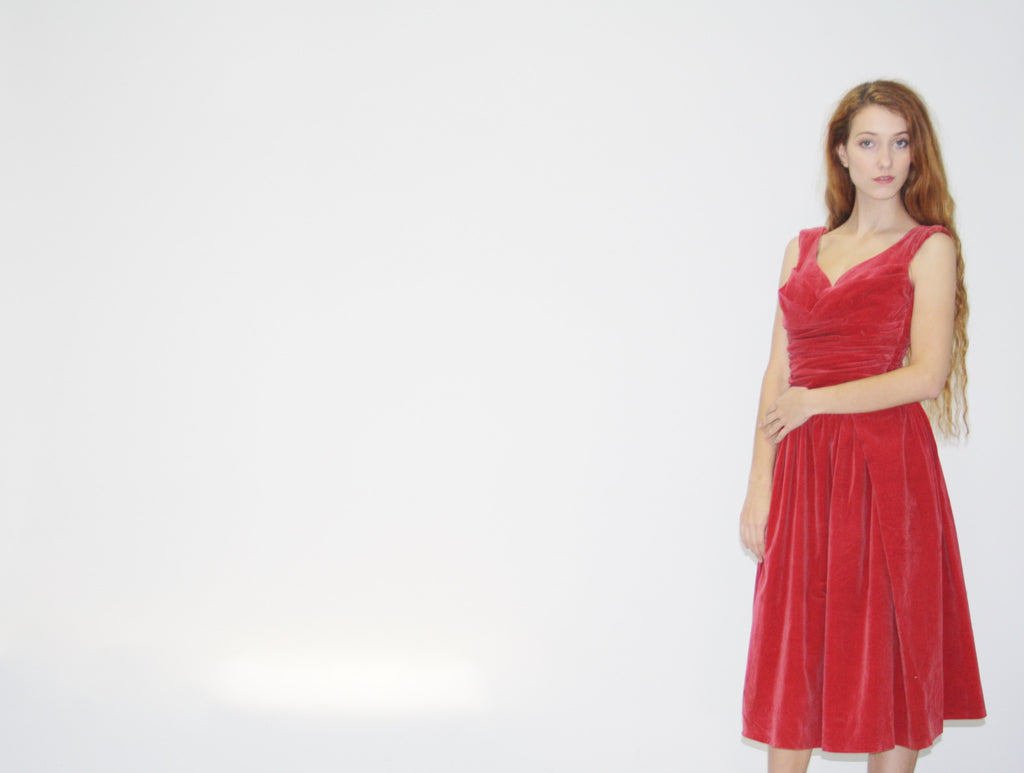 1950s Vintage  Berry Velvet Shelf Bust Velvet Dress