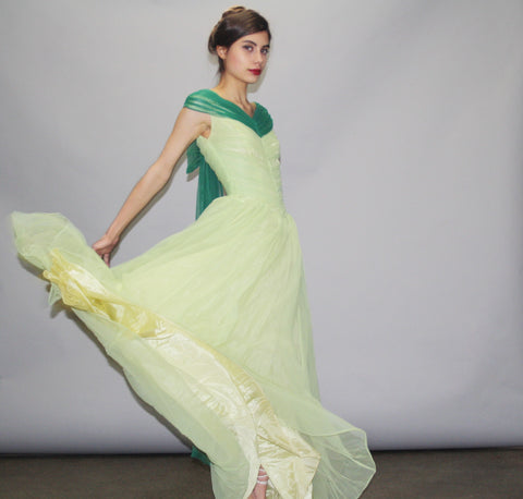 1950s Green Full Length Cupcake Bombshell Pinup Prom Wedding Dress