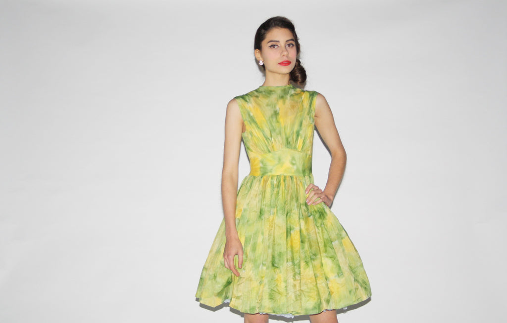 1950s Vintage Lime Green Watercolor Party Dress