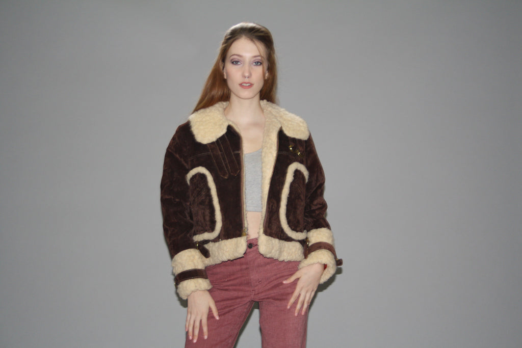 1960s Brown Suede and Lambs Wool Lined Bomber Coat