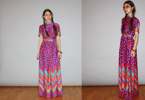 1960s Vintage Rainbow Floral Psychedelic Mod Maxi Dress