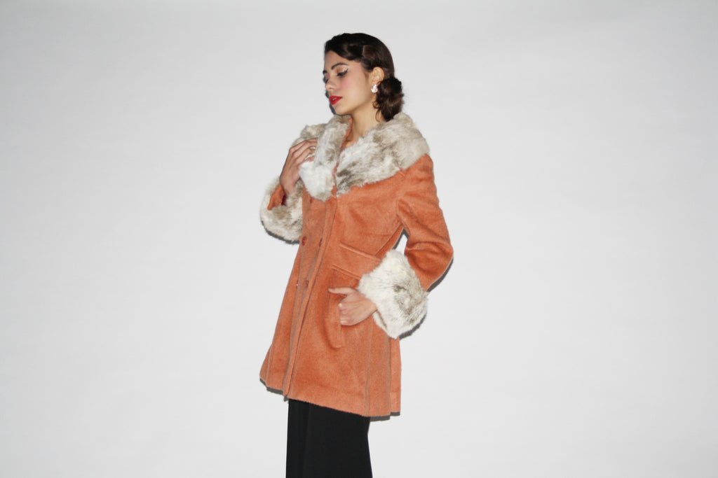 1960s Vintage Mohair Women's Wool Fur Collar and Cuff Coat