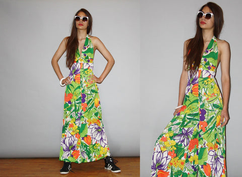 1960s Vintage Psychedelic Palazzo Halter Tropical Floral Bellbottom Jumpsuit