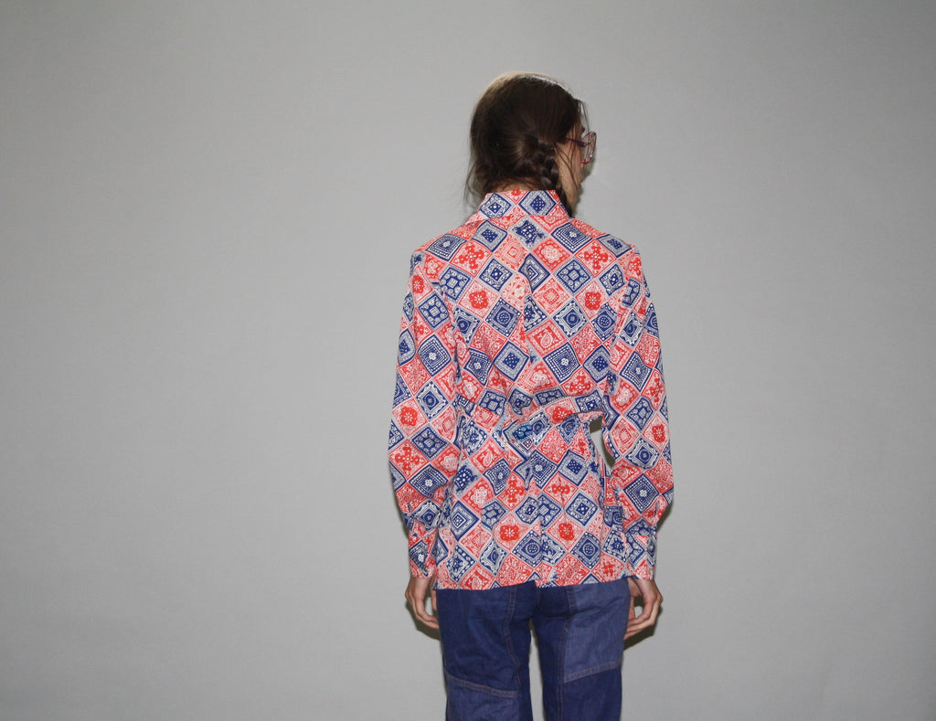 1970s Vintage Red White and Blue Hippie Handkerchief Button Up Blouse