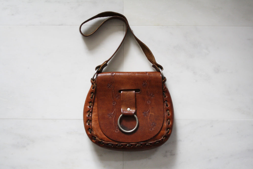 Vintage 1960s Brown Tooled Leather Hippie Boho Festival Purse Bag