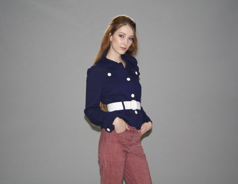 1960s Vintage Mod Navy and White Nautical Jacket