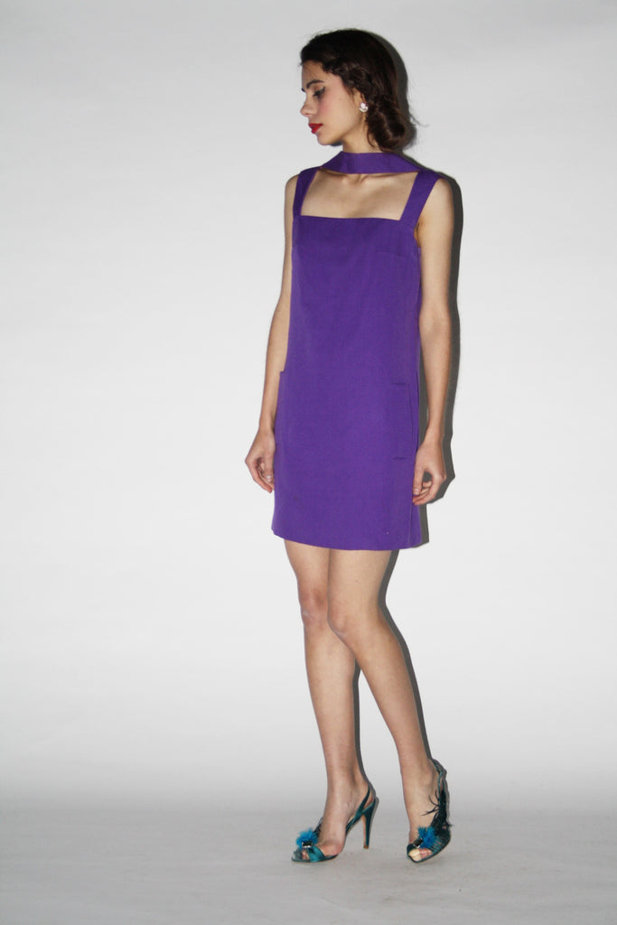 1960s Vintage Purple Mod Mini Scooter Cocktail Dress